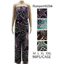 96 Units of Geometric Pattern Tube Romper Sets - Womens Rompers & Outfit Sets