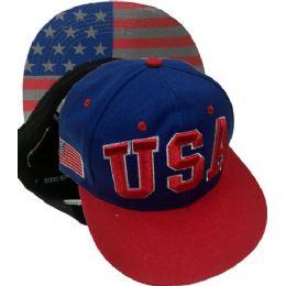 144 Units of USA Flag SnapBack Baseball Cap - Baseball Caps & Snap Backs