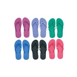 96 Units of Women's Solid Color Flip Flops - Women's Flip Flops