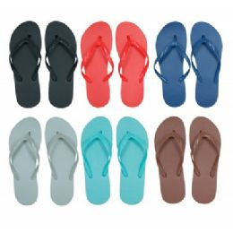 96 Units of Women's Solid Color Flip Flops