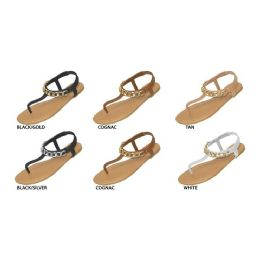 36 Units of Ladies Thong Sandal With Metal Chain Embellishment