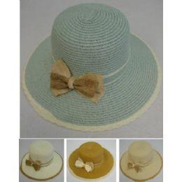 24 Units of Ladies Fashion Hat [Braided Edge/Tweed Bow] - Sun Hats