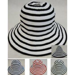 72 Units of Ladies Fashion Hat [Two-Tone Swirl] - Sun Hats