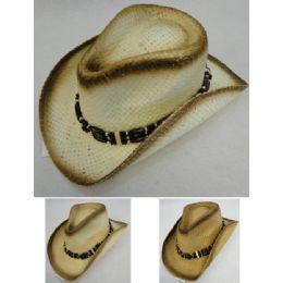 24 Units of Paper Straw Cowboy Hat [triple Bead Hat Band] - Cowboy & Boonie Hat