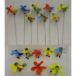 48 Units of Yard Stake [Colorful Birds with Pinwheels] - Garden Decor