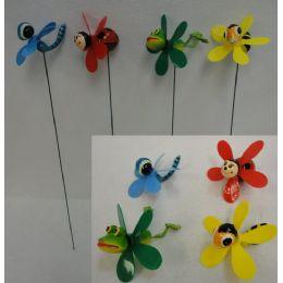 48 Units of Yard Stake With Pinwheel [frog/bee/bug Assortment] - Garden Decor