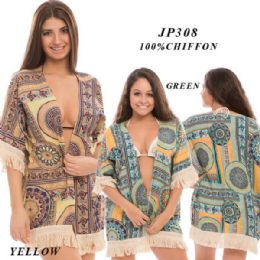 24 Units of Ladies Printed Cover Up with Tassles - Womens Swimwear