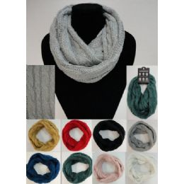 24 Units of SequinS-Cable Knit Knitted Infinity Scarf - Winter Scarves