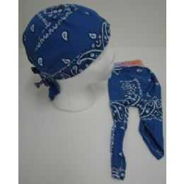72 Units of Skull CaP-Royal Blue Paisley - Bandanas