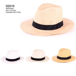 24 Units of Assorted Color Sun Hats With Band - Sun Hats