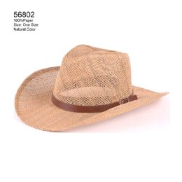 24 Units of Natural Color Cowboy Hats With Band - Sun Hats