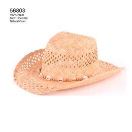 24 Units of Natural Color Cut-Out Sun Hat - Sun Hats