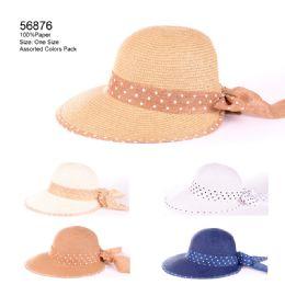 24 Units of Sun Hat With Polka Dot Band - Sun Hats