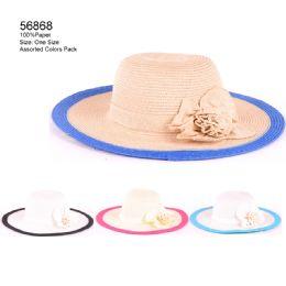24 Units of Color Brim Sun Hat with Flower - Sun Hats