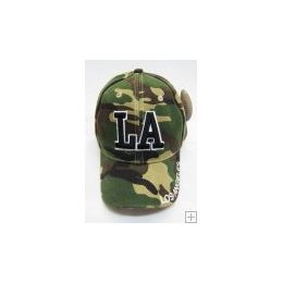 36 Units of Camo Los Angeles Cap - Kids Baseball Caps