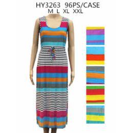 48 Units of Womans Rainbow Striped Long Dress - Womens Sundresses & Fashion