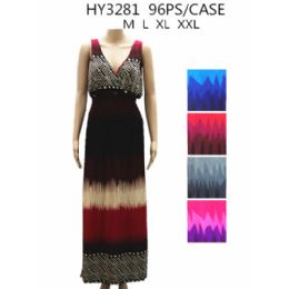 48 Units of Womans Long Summer Dress Assorted Colors - Womens Sundresses & Fashion