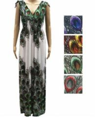 48 Units of Womans Long Peacock Design Summer Dress Assorted Color - Womens Sundresses & Fashion