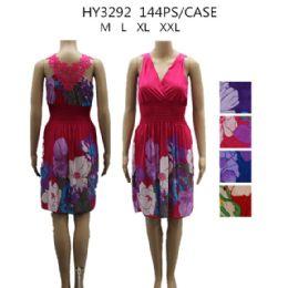 48 Units of Womans Short Flower Print Summer Dress - Womens Sundresses & Fashion
