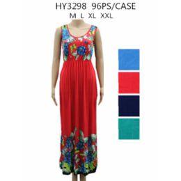 48 Units of Womans Long Flower Print Summer Dress - Womens Sundresses & Fashion