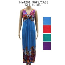 48 Units of Womans Long Summer Dress Flower Printed Style - Womens Sundresses & Fashion