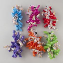 96 Units of Curly Bow 2pk Jumbo Solid W/ Printed Floral 6ast - Bows & Ribbons