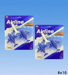 72 Units of 3pcs Airplanes In Blister Card - Toy Sets
