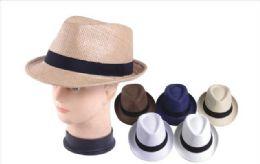 72 Units of Fedora Hat With Black Band - Fedoras, Driver Caps & Visor