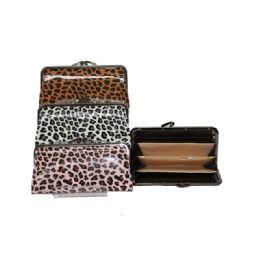 96 Units of Snap-close wallet W/ Leopard Print - Wallets & Handbags