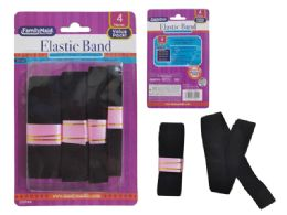96 Units of 4PC BLACK ELASTIC BAND - Sewing Supplies