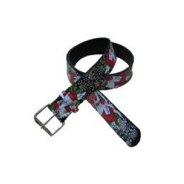 144 Units of Rose Printed Belt - Unisex Fashion Belts
