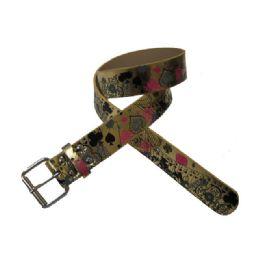 144 Units of Deck of Cards Printed Belt - Unisex Fashion Belts