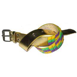 144 Units of Pyramid Studded Gold Belt - Unisex Fashion Belts