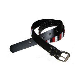 144 Units of Black Belt With Color Stud - Unisex Fashion Belts
