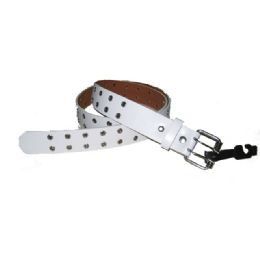 144 Units of Double Prong Belt Buckle In White - Unisex Fashion Belts