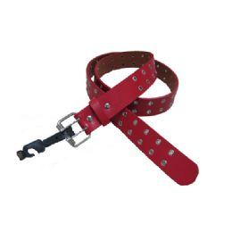 144 Units of Double Prong Belt Buckle In Red - Unisex Fashion Belts