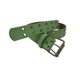144 Units of Double Prong Belt Buckle In Green - Unisex Fashion Belts