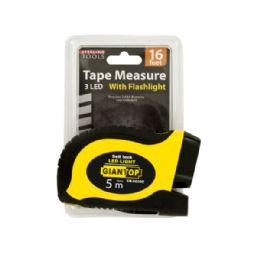 12 Units of Self-Locking Tape Measure with LED Flashlight - Flash Lights