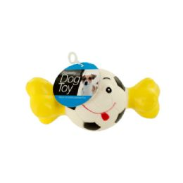 36 Units of Squeaky Sports Ball With Bone Dog Toy - Pet Toys