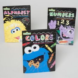 48 Units of Sesame Street Wipe Off Workbooks 3 Asstd In Floor Display - Educational Toys