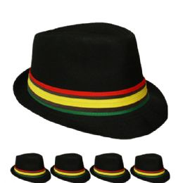 48 Units of Fedora Hat In Black With Colored Band - Fedoras, Driver Caps & Visor