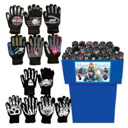 60 Units of Adult Gloves Assorted 60 Per Bin Assorted Styles + Colors - Knitted Stretch Gloves