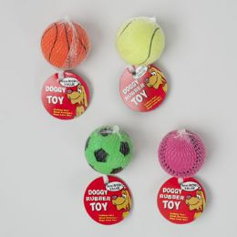 68 Units of Dog Toy Sports Ball 2.5 Inch Dia 4 Assorted In Pdq Hang Tag - Pet Toys