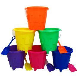 """48 Units of 8"""" Beach Toy Bucket W/ Shovel, Asst - Beach Toys"""
