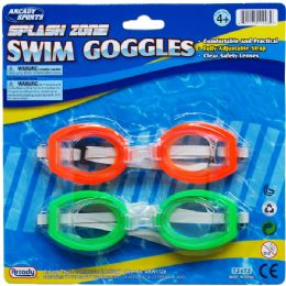 "72 Units of 2PC 5.75"" SWIMMING GOGGLES SET IN BLISTER CARD, ASSRT CLRS - Toy Sets"