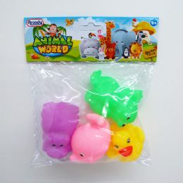 """96 Units of 3"""" 4pc Squeezing Animal Set In Poly Bag W/header - Toy Sets"""