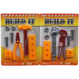 72 Units of 8PC BUILD IT TOOL PLAY SET IN BLISTER CARD - Toy Sets