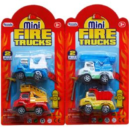 """96 Units of 2PC 2.5"""" P/B MINI FIRE TRUCK SET IN BLISTER CARD - Cars, Planes, Trains & Bikes"""