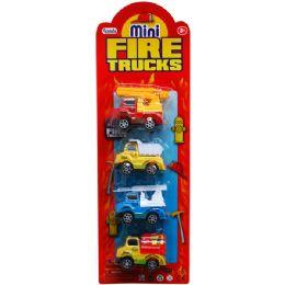 48 Units of 4 Piece Mini Fire Trucks - Cars, Planes, Trains & Bikes
