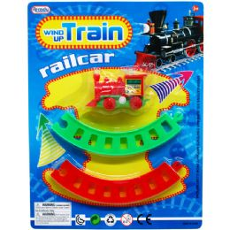 """48 Units of 2.75"""" WIND UP MINI TRAIN W/TRACKS IN BLISTER CARD - Cars, Planes, Trains & Bikes"""